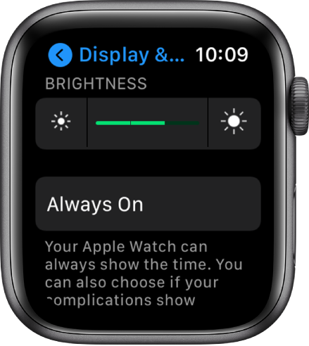 Brightness settings on Apple Watch, with the Brightness slider at the top, and the Always On button below.