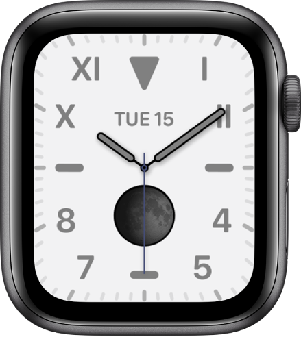 The California watch face, showing a mix of Roman and Arabic numerals. It shows the Moon Phase complication.