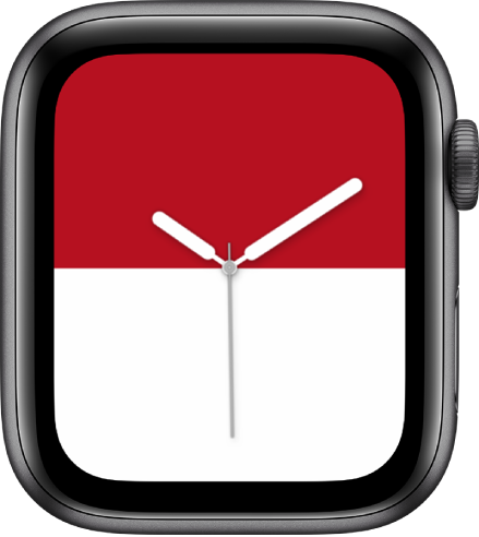 The Stripes watch faces showing a bold red stripe at the top and a bold white stripe at the bottom.