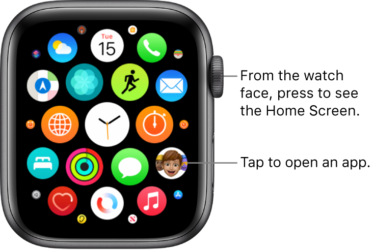Home Screen in grid view on Apple Watch, with apps in a cluster. Tap an app to open it. Drag to see more apps.
