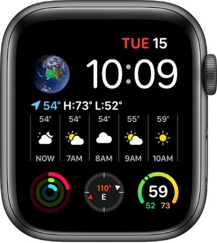 The Infograph Modular watch face showing multiple complications with the Earth complication at the top left, the Weather complication spans the middle of the watch face, and three subdial complications along the bottom: Activity, Compass, and Weather Temperature.