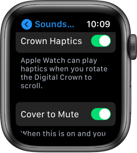 The Crown Haptics screen, showing the Crown Haptics switch turned on. The Cover to Mute button is below.
