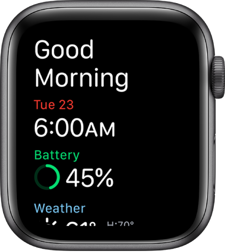 Apple Watch showing the wake-up screen. The words Good Morning appear at the top. The date, time, battery percentage, and weather are below.