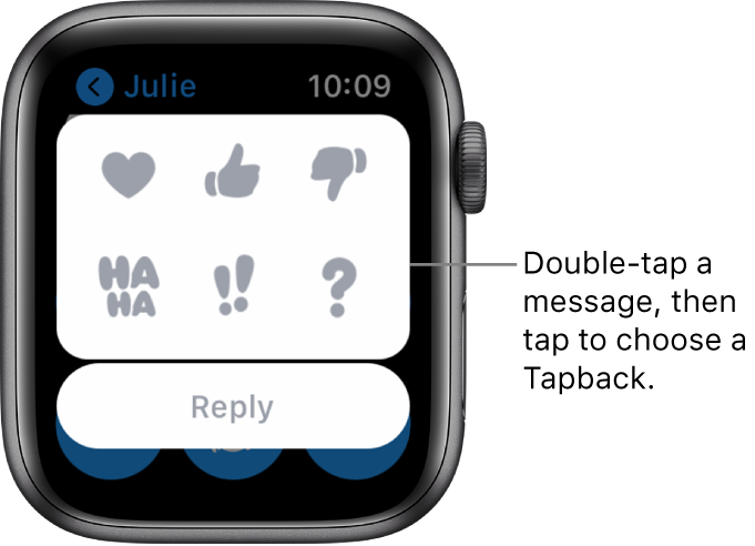 A Messages conversation with Tapback options: heart, thumbs up, thumbs down, Ha Ha, !!, and ?. A Reply button is below.