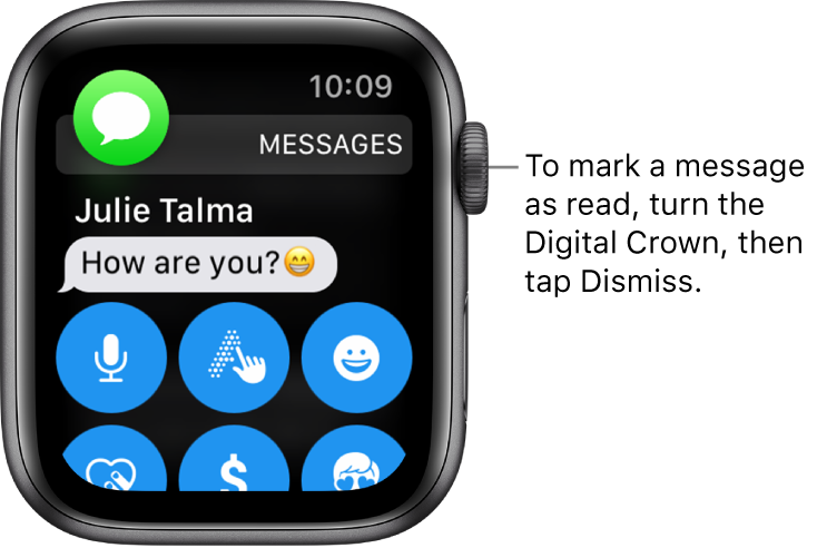 A message notification, with the Messages icon at the top left and the message below that.