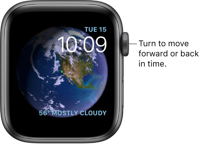 The Astronomy watch face, which displays the day, date, and current time. A Weather complication is at the bottom right. Turn the Digital Crown to move forward or back in time.
