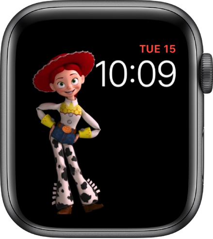 The Toy Story watch face shows the day, date, and time at the top right and an animated Jessie in the left of the screen.