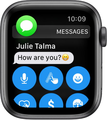 Apple Watch showing a message.