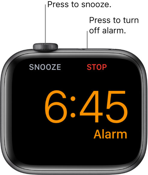 """An Apple Watch placed on its side, with the screen showing an alarm that's gone off. Below the Digital Crown is the word """"Snooze."""" The word """"Stop"""" is below the side button."""