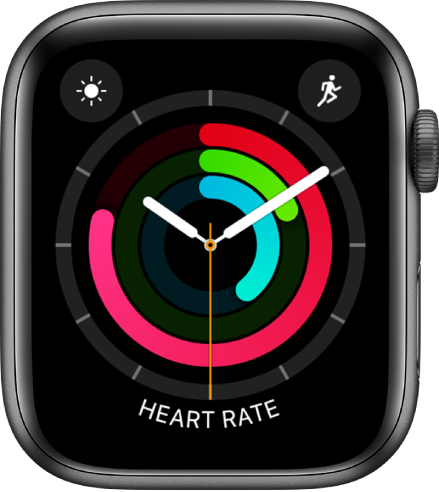 Activity Analog watch face showing the time as well as Move, Exercise, and Stand goal progress. There are also three complications: Weather Conditions at the top left, Workout at the top right, and Heart Rate at the bottom.