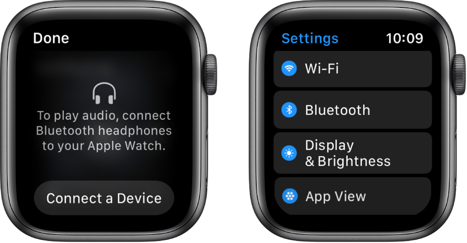 Two screens side by side. On the left is a screen prompting you to connect Bluetooth headphones to your Apple Watch. A Connect a Device button is at the bottom. On the right is the Settings screen, showing Wi-Fi, Bluetooth, Brightness & Text Size, and App View buttons in a list.