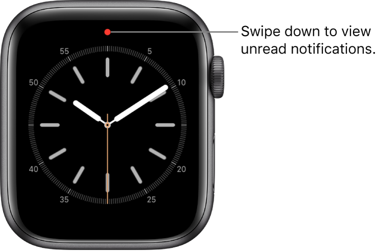 A red dot appears at the top center of your watch face when you have an unread notification.