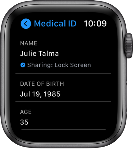 The Medical ID screen showing the user's name and age.
