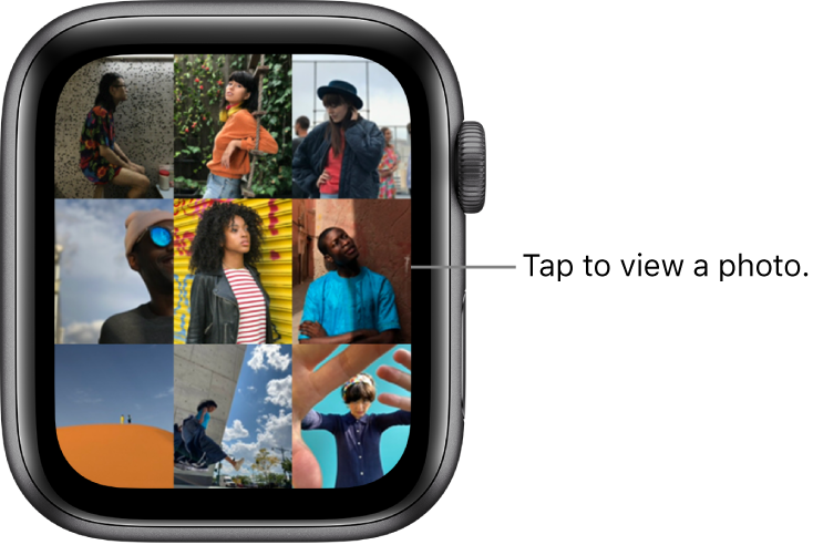 The main screen of the Photos app on Apple Watch, with several photos displayed in a grid.