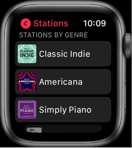 The Radio screen showing three Apple Music Radio genre stations.