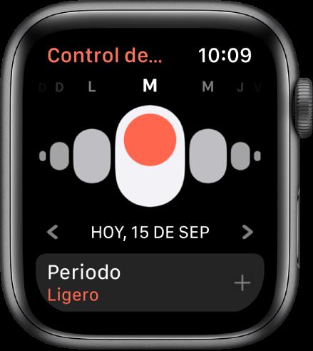 Pantalla de Control de Ciclos mostrando los días de la semana en la parte superior, la fecha actual debajo y el botón Periodo en la parte inferior.