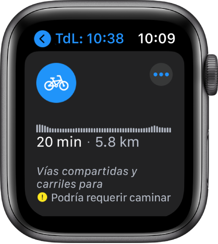 La pantalla Mapas mostrando un resumen de las indicaciones en bicicleta, incluyendo cambios en la elevación, tiempo de viaje estimado y distancia.