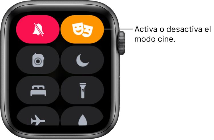 """El centro de control con el botón """"Modo cine"""" y """"Silencio"""" resaltado para mostrar que está activado el Modo cine."""