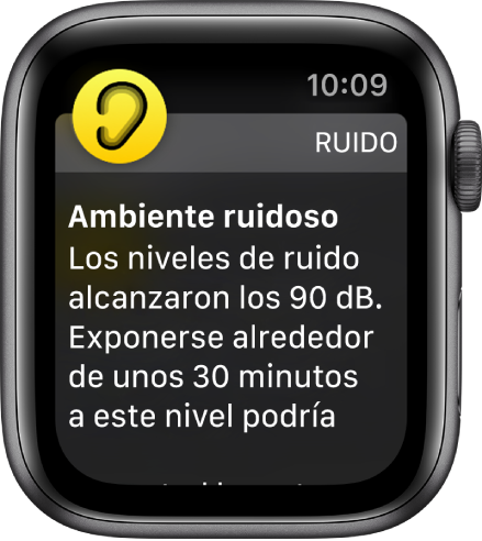 La pantalla de la app Ruido mostrando un nivel de decibeles de 90dB. Debajo se muestra una notificación que advierte sobre la exposición a largo plazo a sonidos de este nivel.