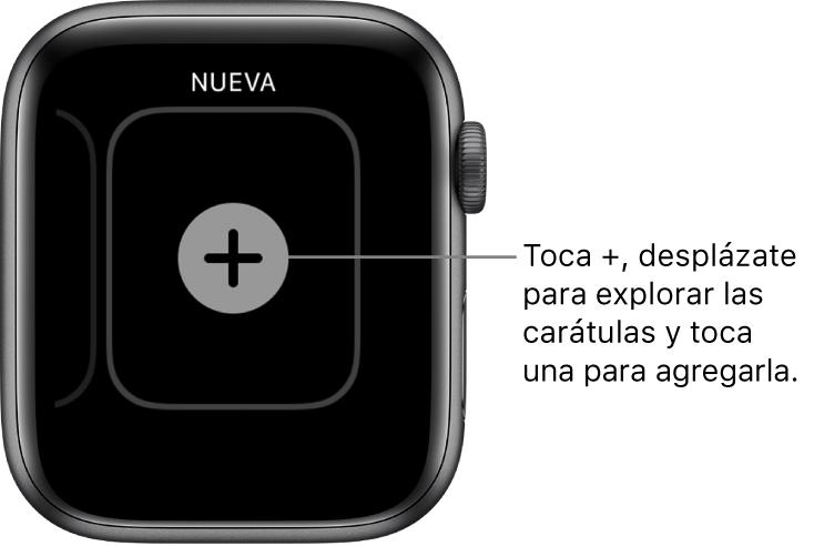 """Pantalla de carátula nueva, con un botón """"+"""" en medio. Toca para agregar una carátula nueva."""
