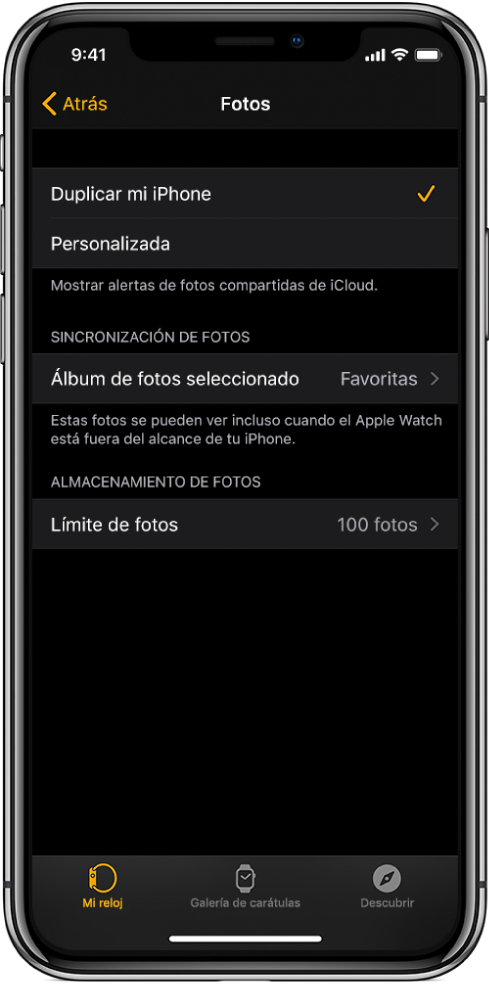 """La configuración de Fotos en la app AppleWatch en el iPhone, con la configuración """"Sincronización de fotos"""" en el centro y la configuración """"Límite de fotos"""" abajo."""