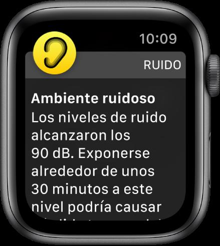 Una notificación de Ruido sobre un nivel de sonido de 90 decibeles. Debajo se muestra una advertencia sobre la exposición prolongada a este nivel de sonido.