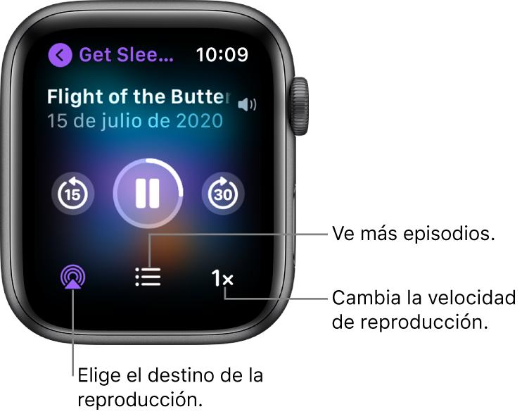 """Pantalla """"Ahora suena"""" de Podcasts mostrando el título del programa y del episodio, la fecha, los botones """"Retroceder 15 minutos"""", """"Pausar"""", """"Avanzar 30 segundos"""", """"AirPlay"""", """"Episodios"""" y """"Velocidad de la reproducción""""."""