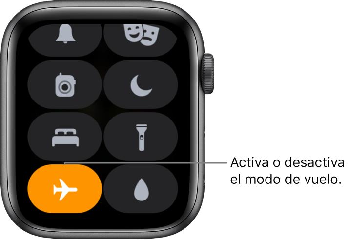 """El centro de control con el botón """"Modo de vuelo"""" resaltado para mostrar que está activado el modo de vuelo."""