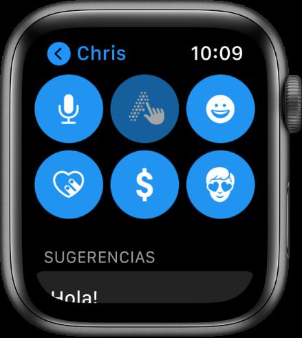 Pantalla de Mensajes mostrando el botón Apple Pay junto con los botones Dictado, Escribir, Emoji, Digital Touch y Memoji.