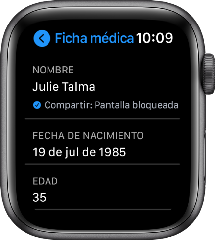 Pantalla de la ficha médica mostrando el nombre y la edad del usuario.
