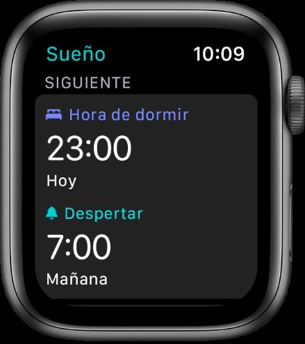 La app Sueño mostrando el horario de dormir de la noche. Cerca de la parte superior, la hora de dormir está configurada a las 11p.m.; y debajo se muestra la hora de despertar a las 7a.m.
