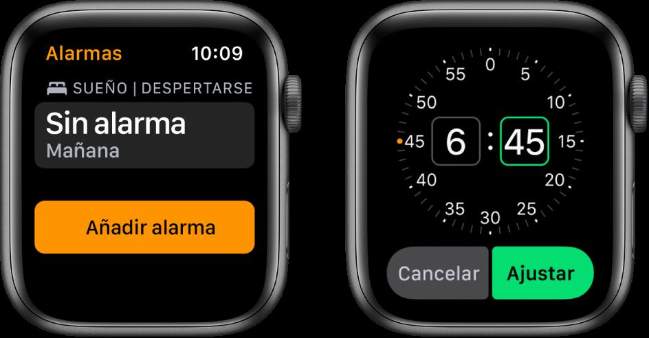 """Dos pantallas del reloj en las que se muestra el proceso para añadir una alarma: Pulsa """"Añadir alarma"""", gira la corona DigitalCrown para ajustar la hora y, a continuación, pulsa Ajustar."""