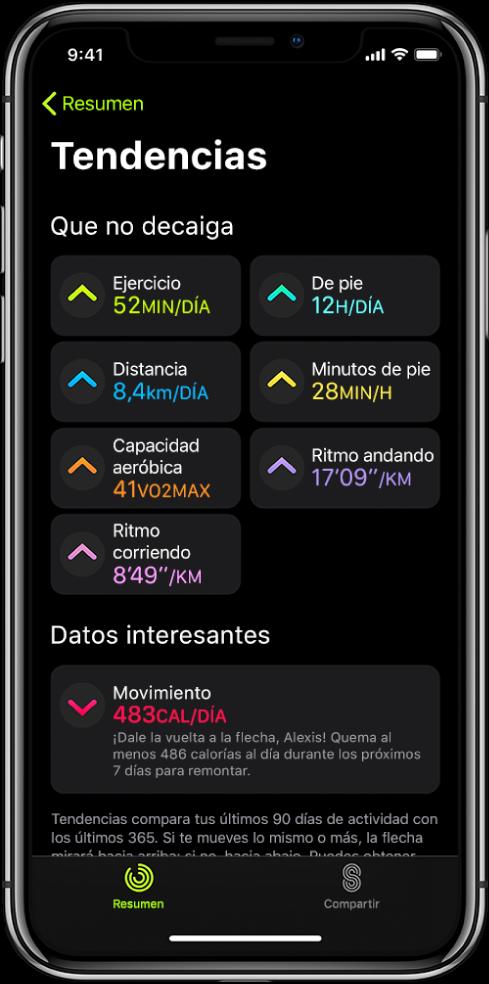 """Pestaña Tendencias en la app Actividad del iPhone. Aparecen unas cuantas métricas debajo de Tendencias cerca de la parte superior de la pantalla. Entre otras, aparecen las métricas: Ejercicio, """"De pie"""" y Distancia. Movimiento aparece debajo de """"Ojo al dato""""."""