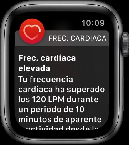 """La pantalla de """"Pulsaciones altas"""" con una notificación que dice que tu frecuencia cardiaca ha estado por encima de los 120LPM mientras estabas en reposo durante 10minutos."""