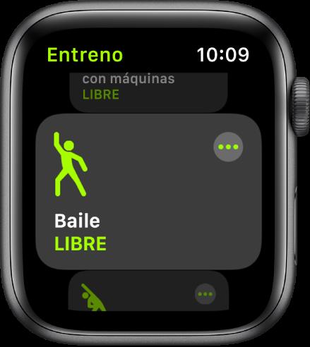 La pantalla Entreno, con el entreno Baile resaltado.