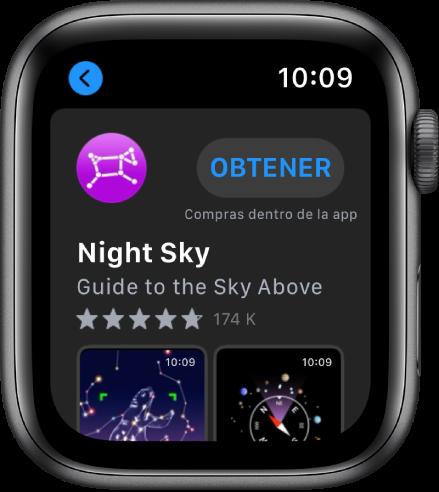 AppleWatch con la app AppStore. Aparece un campo de búsqueda cerca de la parte superior de la pantalla con una colección de apps debajo.