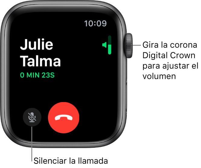 Durante una llamada entrante, la pantalla muestra el indicador horizontal del volumen arriba a la derecha, el botón Silenciar abajo a la izquierda y el botón rojo Rechazar. La duración de la llamada aparece debajo del nombre de la persona que llama.