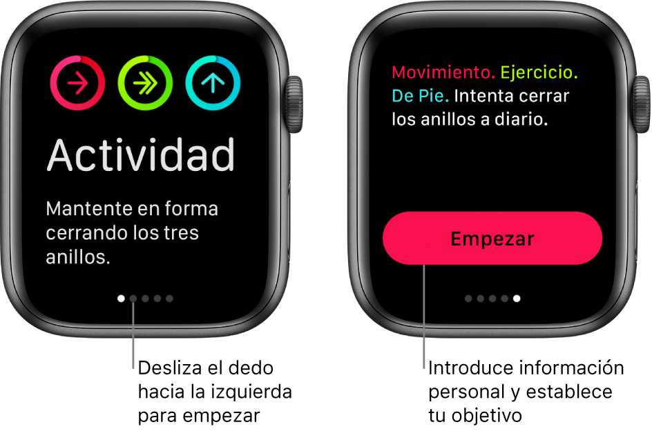 Dos pantallas: En una se muestra la pantalla inicial de la app Actividad y en la otra se muestra el botón Empezar.