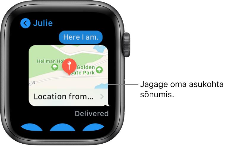 Rakenduse Messages kuva, kus on kaart saatja asukohaga.