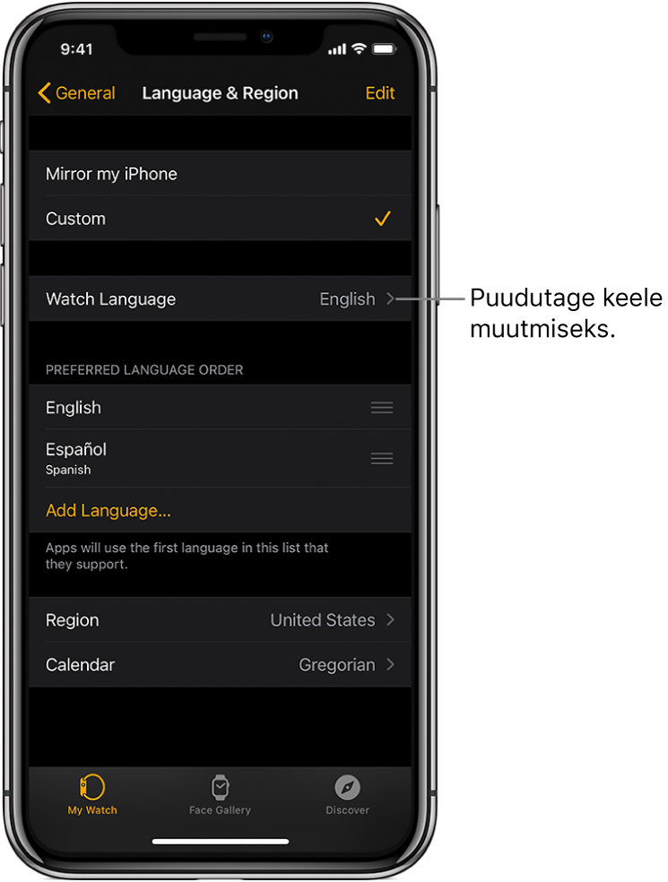 Rakenduse Apple Watch kuva Language & Region, mille ülaosas on seade Watch Language.