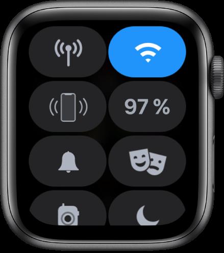 Ohjauskeskus, jossa näkyy kahdeksan painiketta: Mobiilidata, Wi-Fi, Pingaa iPhonea, Akku, Hiljainen tila, Teatteritila, Radiopuhelin ja Älä häiritse.