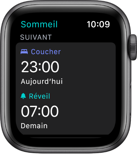 L'écran Sommeil qui affiche l'horaire de sommeil du jour même. Coucher, dans le haut, est réglé à «23:00». L'heure de réveil «7:00» est inscrite en dessous.