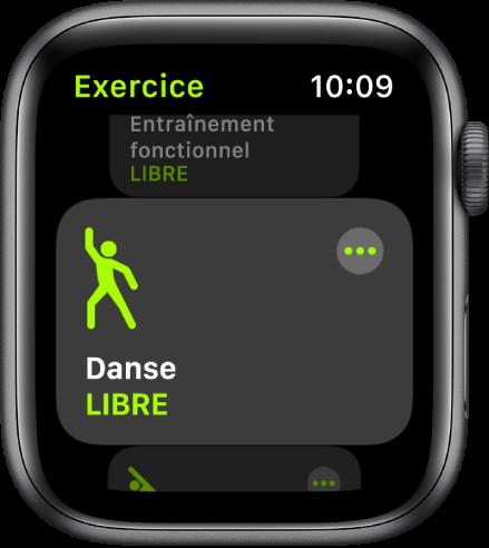 L'écran d'Exercice avec l'entraînement Danse mis en évidence.