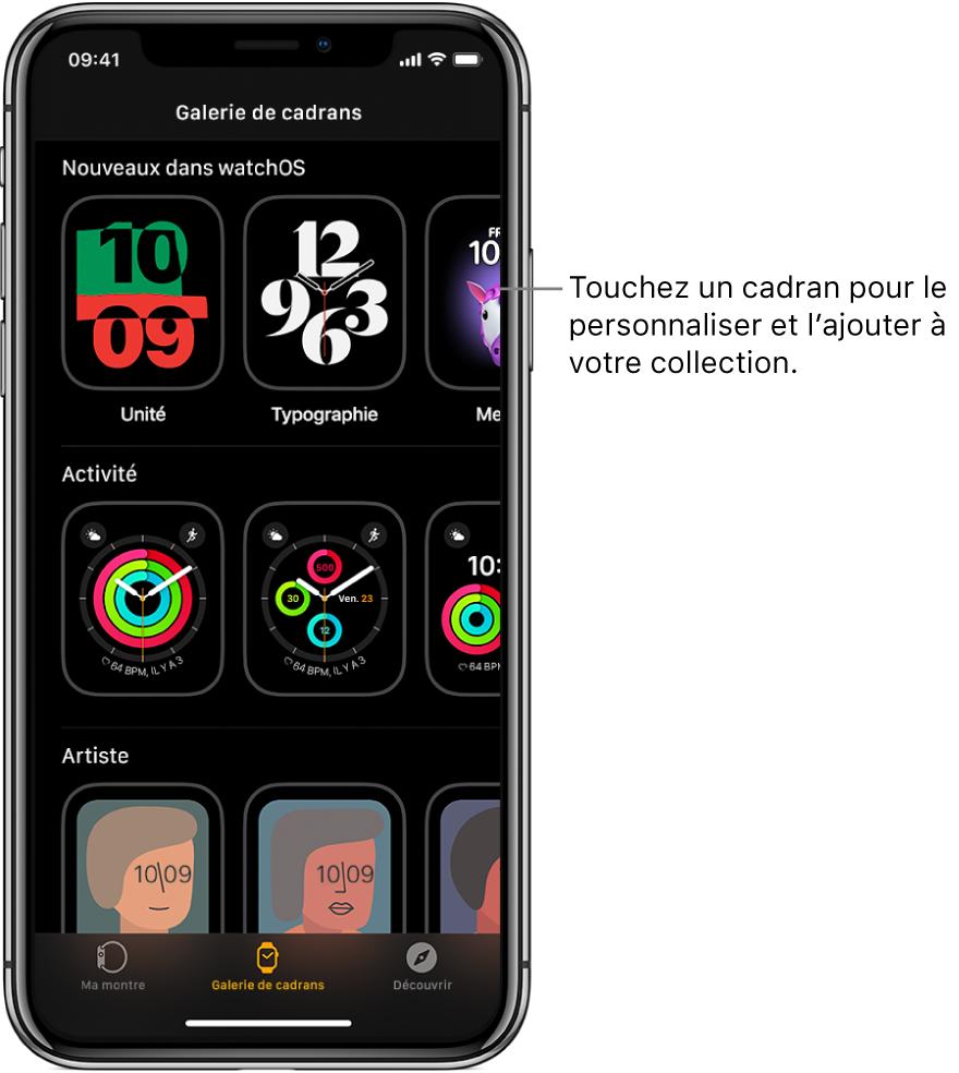 L'app Watch qui affiche la galerie de cadrans. La ligne supérieure affiche les nouveaux cadrans; la ligne suivante, les cadrans classés par type (p.ex. Activité et Artiste). Faites défiler l'écran pour afficher plus de cadrans classés par type.