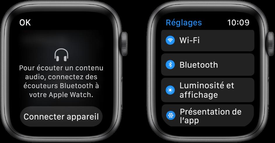 Deux écrans côte à côte. Sur la gauche, un écran vous invite à connecter des écouteurs Bluetooth à votre AppleWatch. Un bouton «Connecter appareil» est en bas. Sur la droite se trouve un écran Réglages, affichant des boutons Wi-Fi, Bluetooth, «Luminosité,Taille du texte» et «Présentation des apps» dans une liste.