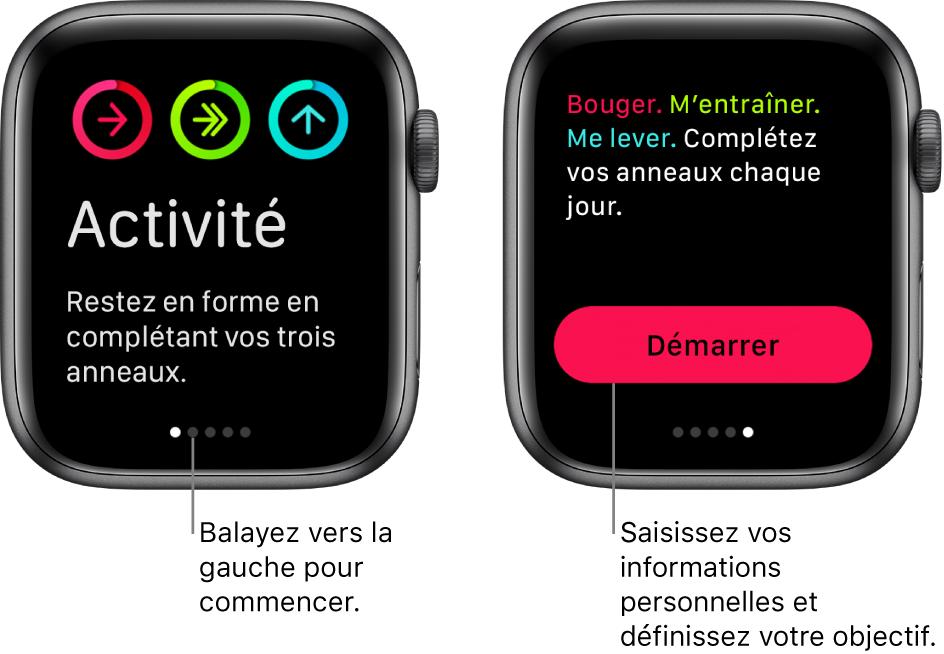 Deux écrans: L'un montre le premier écran de l'app Activité, l'autre montre le bouton Démarrer.