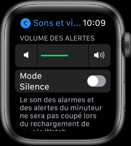 Réglages «Sons et vibrations» sur l'AppleWatch, avec le curseur «Volume des alertes» en haut et le bouton du mode Silence en dessous.