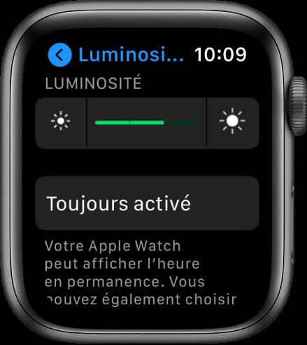 Réglages Luminosité sur l'AppleWatch, avec le curseur Luminosité en haut et le bouton «Toujours activé» en dessous.