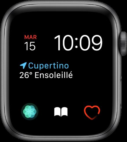 Cadran Modulaire, sur lequel vous pouvez modifier la couleur du cadran. Il affiche l'heure et la date vers le haut de l'écran, la complication «Conditions météo» au milieu et trois complications de sous-cadrans en bas: Respirer, «Livres audio» et «Fréquence cardiaque».