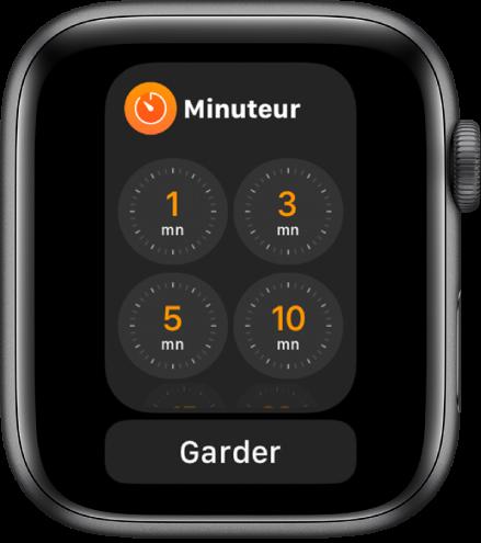 Écran de l'app Minuteur dans le Dock, le bouton Garder en dessous.